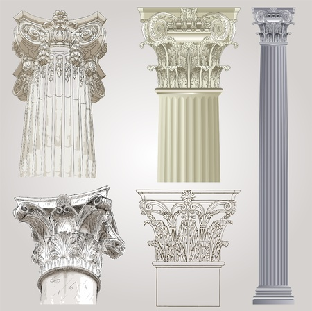 neoclassical: Columns set Illustration