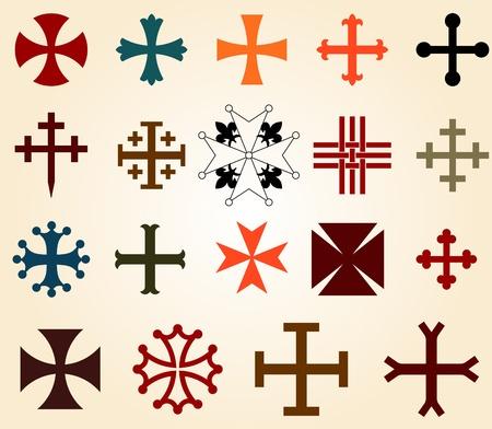 teutonic: croci set Vettoriali
