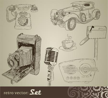retro doodle set Vector
