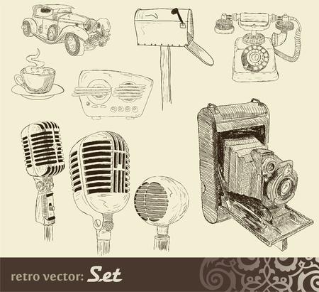 vintage telephone: Doodles set