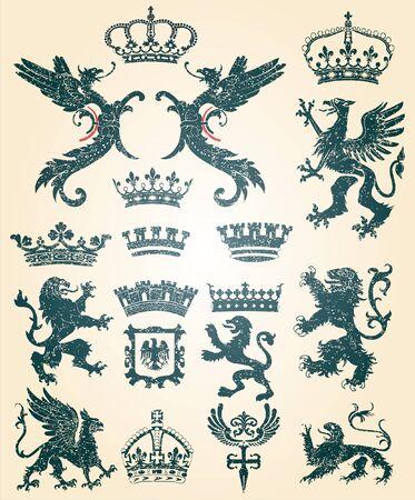 rey medieval: sucios adornos retro Vectores