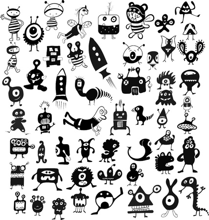 doodle characters set Vector