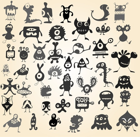 Many cute doodle monsters Vector