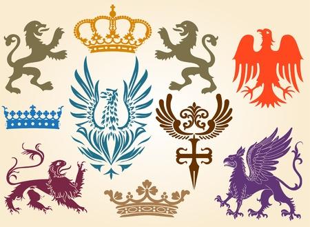 heraldic symbols: retro set