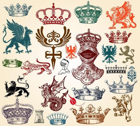 escudo de armas: conjunto retro Vectores