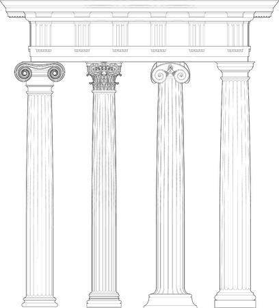 zuilen: Vier klassieke orders Stock Illustratie