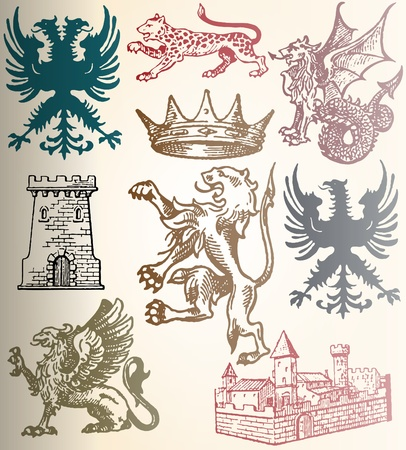leopard head: heraldic set