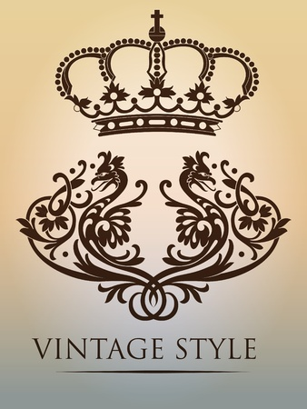 crown vintage Vector