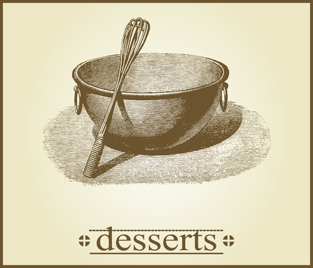 cooking utensil: Dessert Cover Design Illustration