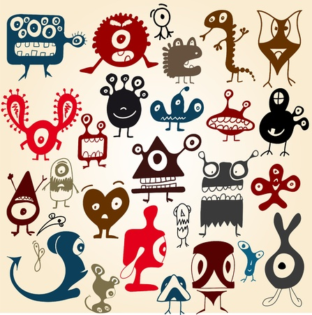 Many cute doodle monsters set Vector