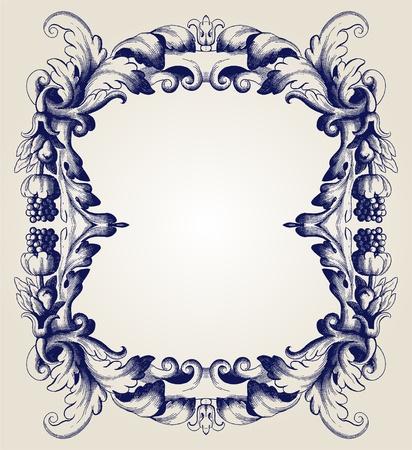 baroque picture frame: retro frame