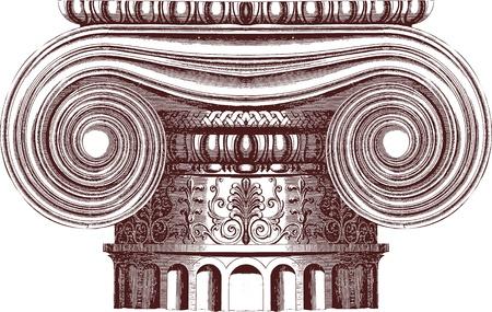 templo griego: Vector columna jónica