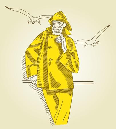 fly fisherman: old captain smoking