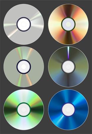 blu ray: Set of discs. CD DVD Blu-ray. Vector Illustration Illustration