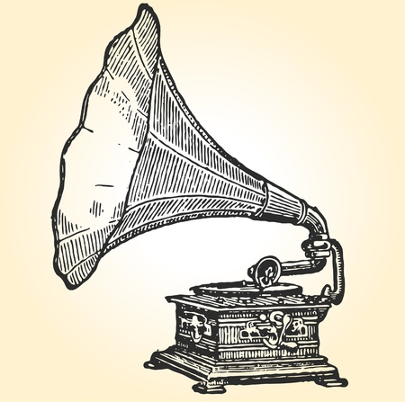 gold record: retro  gramophone