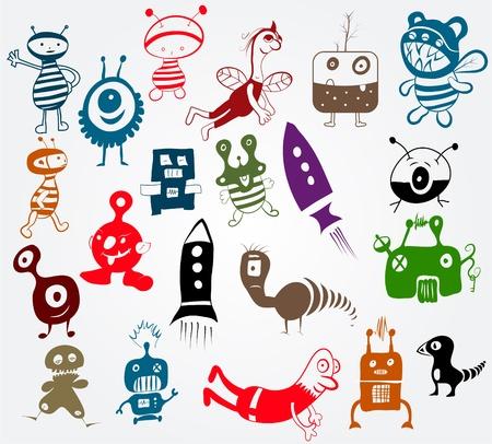 doodle characters Vector