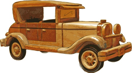 wood toy car Vector