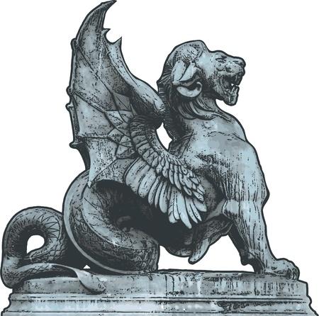 chimera: Vector chimera Sculpture Illustration