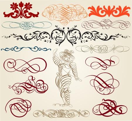 retro design elements: calligraphic elements
