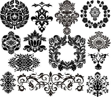 damasco: Los elementos del damasco Vectores