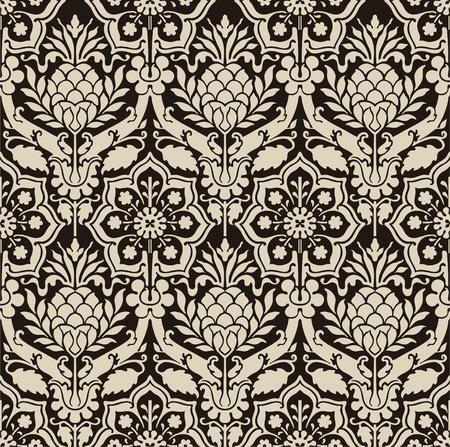 contrast floral: Retro wallpaper Illustration
