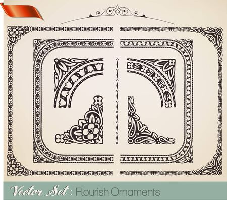 Retro ornaments Vector
