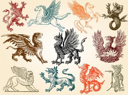 lion drawing: Animali mitici