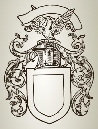 heraldic symbols: Retro shield