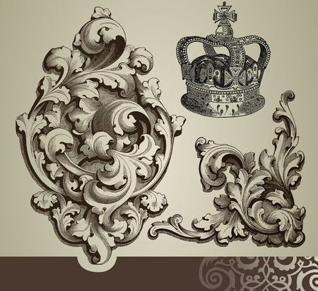 antikes papier: Barocke Ornamente