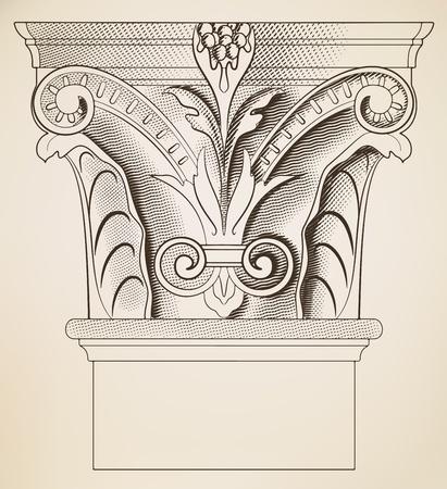 corinthian: Engraving column Illustration