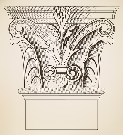 columna corintia: Grabado en la columna Vectores
