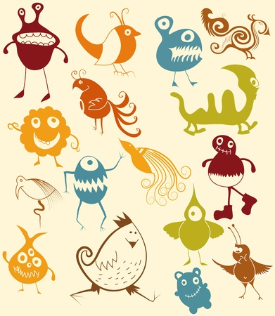 Many cute doodle monsters Stock Vector - 13312823