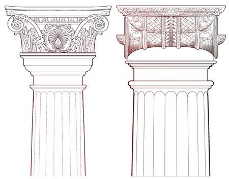 pilastri: Elementi di design - set di colonne Ancient Vettoriali