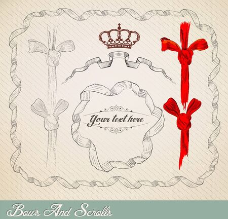 Bow and Scroll set Vector