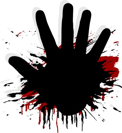 hand stop: blood splat with a hand Illustration