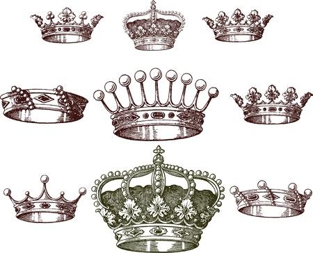 crown tattoo: old crown set