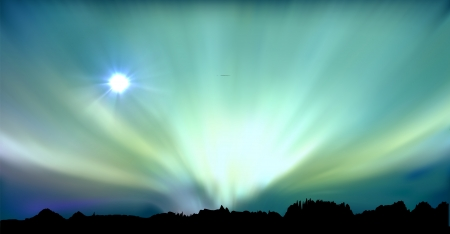 astrophotography: vectorial illustration of aurora polaris