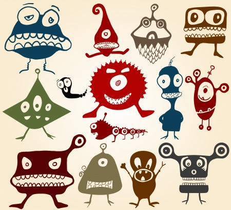 Many cute doodle monsters Set n2 Vector