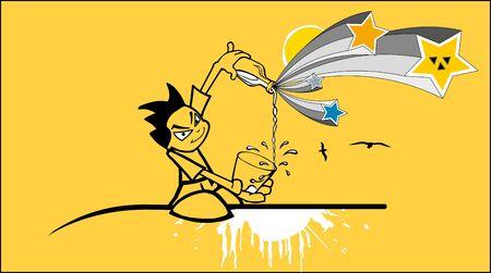 trajectoire: illustration d'un des enfants avec du lait Illustration