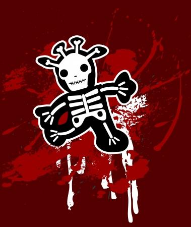 grunge background with giraffe in bones Stock Vector - 13843199