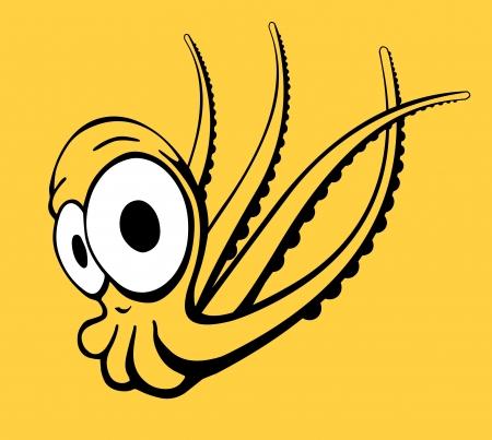 ahtapot: illustration - octopus in comic style Çizim
