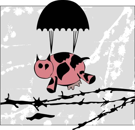 illustration of cow with parachute Vector