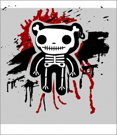 Grunge background with teddy in bones Vector