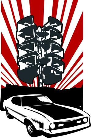 speed of sound: car with grunge background Illustration