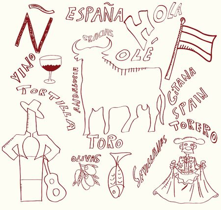 spanish topics Stock Illustratie