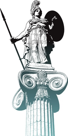 hellenistic: Statue of Athena, vector illustration  Illustration