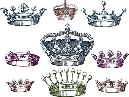 oude kroon set Vector Illustratie