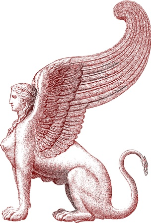 sfinx: Sphinx standbeeld Stock Illustratie