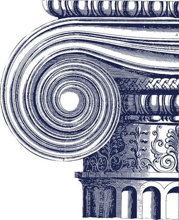 romanesque: classic column illustration Illustration
