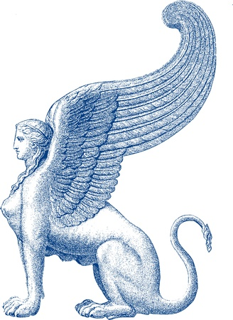 leon con alas: Esfinge estatua